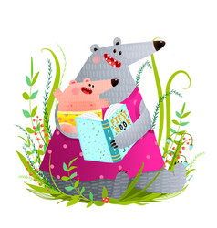 bear mother reading book to kid vector image