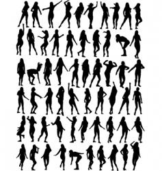 dancing women silhouettes vector image