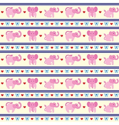 Elephant Pink Fun Pattern vector image