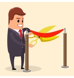 manager or businessman cuts ribbon with vector image vector image