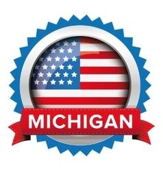 Michigan and USA flag badge vector image
