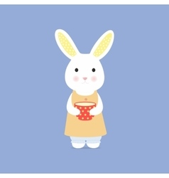 Cute rabbit with cup vector image vector image