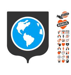 Earth shield icon with love bonus vector