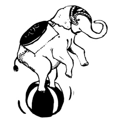 elephant playing ball vector image vector image