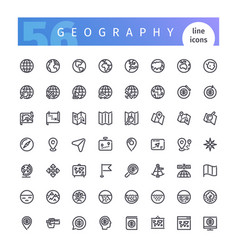 geography line icons set vector image vector image