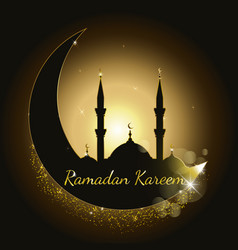 ramadan kareem background with mosque silhouette vector image