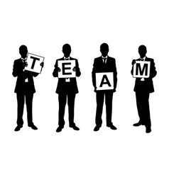set of people holding team sign vector image vector image
