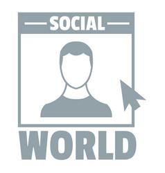 social world logo simple gray style vector image
