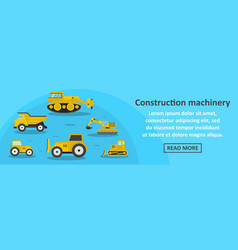 construction machinery banner horizontal concept vector image