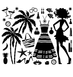Fashionable set of tropical rest with silhouette o vector image vector image