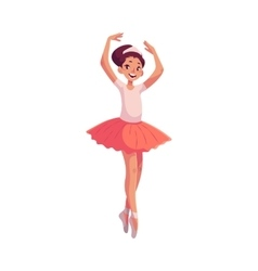 Little ballerina in pink tutu standing on toes vector image