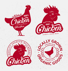 set of chicken logos labels prints posters vector image
