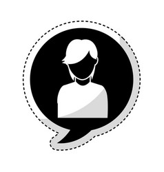 speech bubble with woman avatar character vector image vector image