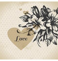 Wedding floral love card vector image vector image