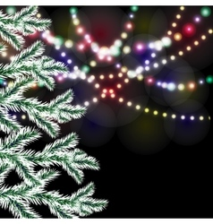 Christmas tree Bright festive lights vector image