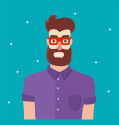 cool hipster man character with beard and vector image
