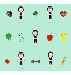 fitness woman and diet vector image