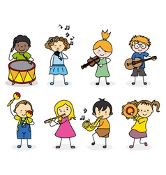 group children with musical instruments vector image