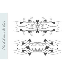 hand drawn lovely valentines day flourishes vector image