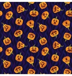 Pattern with Funny Smiling Halloween Pumpkins vector image