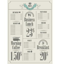price list vector image vector image