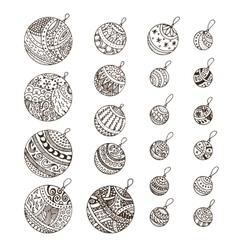 Set of doodle hand drawn Christmas balls vector image vector image