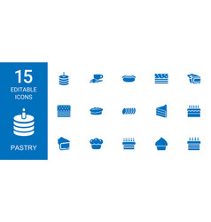 15 pastry icons vector