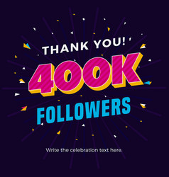 400k followers card banner post template for vector