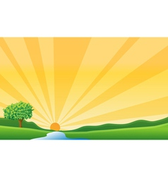 A river and sun vector