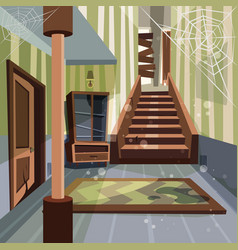 abandoned house broken interior room indoor vector image