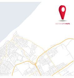 abstract city map with red pointer vector image