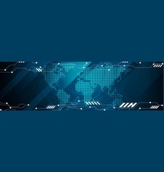 Abstract technology world map web header design vector