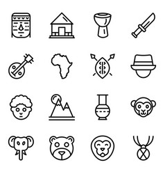 African culture icons in line style pack vector
