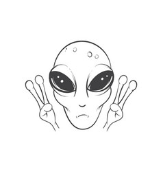 Alien is showing a sign of peace vector