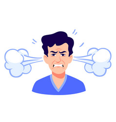 Angry cartoon man with steam coming out ears vector