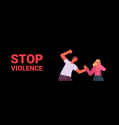 angry husband punching and hitting wife stop vector image