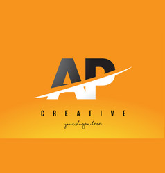Ap a p letter modern logo design with yellow vector