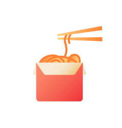 asian food takeout flat color icon vector image