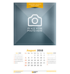 August 2018 wall calendar for 2018 year design vector