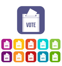 ballot box icons set flat vector image