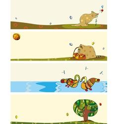 Banner Set Animals Horizontal vector image