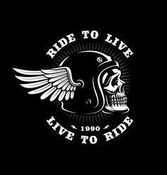 Biker skull in helmet with wing on dark background vector