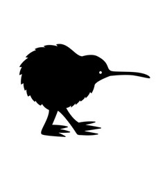 black kiwi silhouette vector image