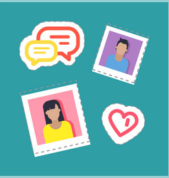 bloggers male and female stickers set vector image