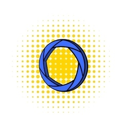 Blue camera aperture icon comics style vector