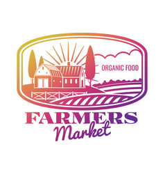 Bright farmer market label or emblem vector