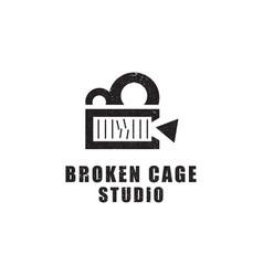 broken cage studio film and video studio logo vector image