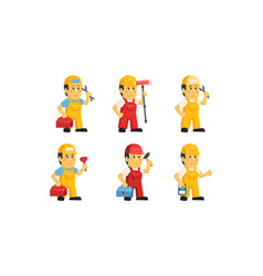builder workers in uniform with different tools vector image