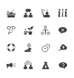 Business icon set personality traits vector