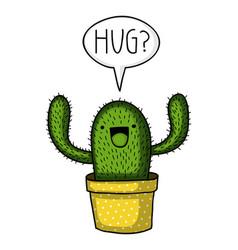 cactus hug vector image vector image